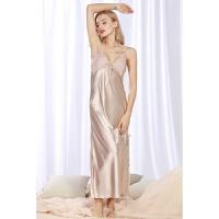 睡衣女夏季性感真丝吊带睡裙长款冰丝薄款丝绸诱惑情趣长裙家居服 驼色 主图款