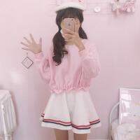 秋冬女装韩版学生宽松可爱收腰短款上衣+短裙时尚休闲套装两件套