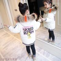 女童棉衣2018新款儿童加厚大毛领女孩棉袄中大童冬装韩版外套