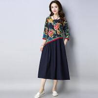 中国风女装连衣裙女2018春装新款民族风女装棉麻拼接宽松复古长裙