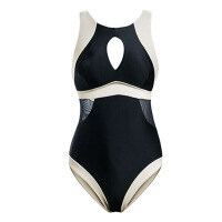 小胸聚拢性感连体泳衣女 保守遮肚修身显瘦温泉游泳衣