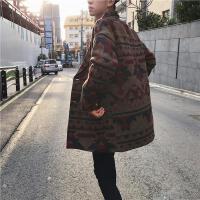 新款2018秋冬男装 韩版复古民族风 中长款毛呢料大衣 风衣宽松外