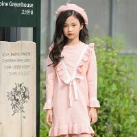 2019 女童针织连衣裙秋冬中大童韩版公主裙毛衣童装