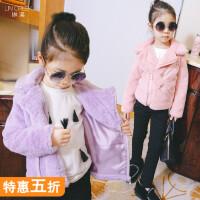 女童仿皮毛外套中大童皮草上衣宝宝加厚棉衣加绒儿童保暖加厚外套