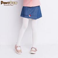 【2件3折 到手价:137】Pawinpaw卡通小熊童装秋女童松紧腰小熊刺绣牛仔短裙裤
