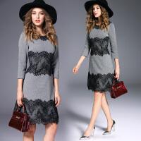 秋冬季中长款修身收腰灰色格子拼接睫毛蕾丝优雅内搭打底连衣裙女