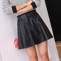 2018春夏新款大码修身显瘦迷你短裙子 女PU皮裙裤高腰半身裙皮裙 黑色