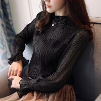 雪纺衫女长袖2018春装新款韩版修身黑色小衫透视打底衫女上衣超仙 黑色 收藏再拍下送吊带