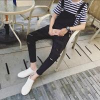 青少年学生韩版潮流修身吊带牛仔裤个性男水洗破洞九分小脚裤
