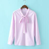 F衬衫长袖蝴蝶结系带纯棉打底衫上衣春装新女装衬衣