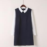秋冬季假两件套连衣裙韩版复古OL通勤气质中长裙打底裙淑女