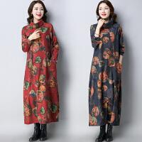 印花连衣裙秋冬新款民族风女装宽松中国风长款长袖高领裙子