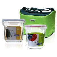 Glasslock 钢化玻璃保鲜盒微波炉饭盒玻璃便当盒带便携保温包2件套GL823