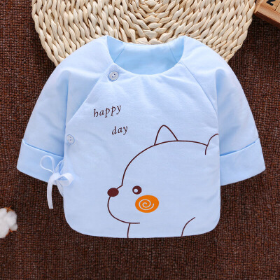 初生婴儿衣服0-3个月宝宝上衣秋冬加厚和尚服新生儿半背衣