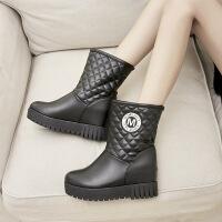 彼艾2017冬季白色内增高雪地靴厚底棉靴显瘦中筒靴女百塔靴子保暖棉鞋