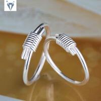 韩版999纯银戒指 原创手工捆绑戒指环足银饰创意情侣个性细戒指