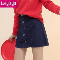 【满200减100】Lagogo2017春新款牛仔裙女短裙A字裙夏半身裙显瘦裙子高腰裙GABB13A326