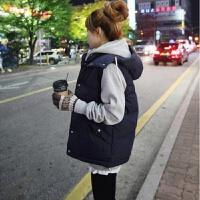 ZAH正品马甲女士2017冬季新款韩版中长款宽松大码羽绒棉时尚女学生马夹棉衣外套 深蓝色单件马甲