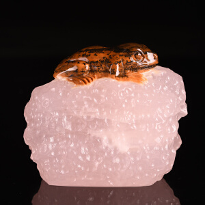 《呱呱来财茶宠摆件》天然金田黄紫罗兰取巧全手工精雕