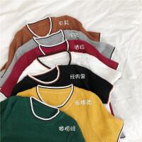 七色入 气质小清新圆领短袖简约套头百搭显瘦甜美打底衫上衣