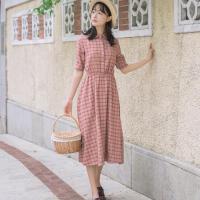 2018新款文艺复古中长裙子女夏装森女系学生原宿风格子衬衫连衣裙