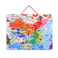 儿童大块拼图地图中国磁性拼图磁力玩具3-4-6岁木质拼板