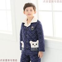 男童睡衣冬季�和�男孩加厚款三��A棉小孩法�m�q秋冬天中大童套�b ���{ 007深�{