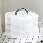 3层18格透明塑料多层收纳盒便携简约首饰盒戒指耳环耳钉饰品盒子