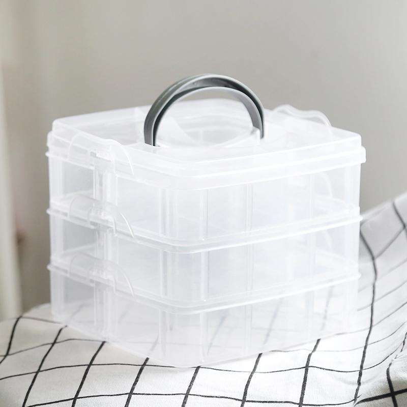 3层18格透明塑料多层收纳盒便携简约首饰盒戒指耳环耳钉饰品盒子 进店有惊喜  优惠多又多~