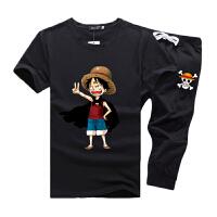 卡通动漫航海王t恤男学生运动套装路飞衣服男孩子夏天短袖七分裤