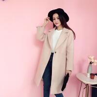 冬季新款韩版纯色西装领长袖直筒修身中长款毛呢外套女
