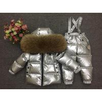 冬季新款儿童羽绒服套装宝宝婴儿背带裤套装男童女童貉子毛滑雪服
