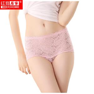 红豆内裤女士内裤高腰性感透明蕾丝镂空舒适透气三角内裤三条一组 均码