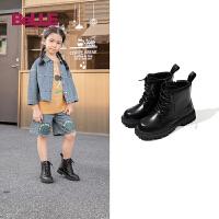 【券后价:178.9元】百丽童鞋儿童加绒短靴2021秋冬新款女童马丁靴英伦风男童骑士短靴