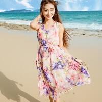 沙滩裙 海边度假 宽松 夏季大码碎花V领无袖雪纺中短款连衣裙子 【收藏】送沙滩巾