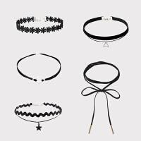韩国项链女锁骨链短款choker项圈简约网红脖子饰品颈带脖颈黑颈链 1#5件套 淑女气质