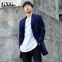 【GXG过年不打烊】GXG毛呢大衣男装 冬季男士修身时尚潮都市外套男中长款大衣男