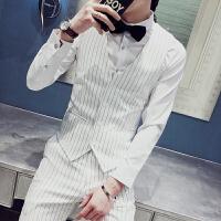 秋装个性复古条纹马甲男修身夜店发型师酒吧咖啡厅工作服马夹男装