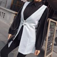 2018春季新款韩版时尚气质翻领长袖衬衣+百搭纯色马夹两件套套装