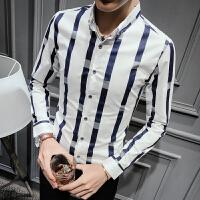 新款秋冬男士长袖衬衫英伦修身条纹衬衣S码发型师潮衬衣小码青年