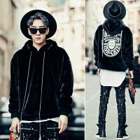 新款欧美高街男士韩版宽松连帽套头长袖卫衣男装秋冬款个性