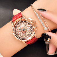 时尚满钻女表皮带女生手表旋转时装表学生腕表石英表