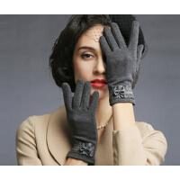 时尚绒布女冬韩版修手蝴蝶结可爱冬季保暖手套女士