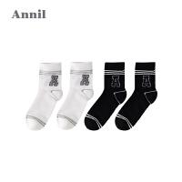 【直降:24.5】安奈儿童装男童运动风短袜两件装2019新款