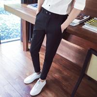 2018潮流矮个子小码西装裤潮男韩版修身小脚裤发型师27码26九分西