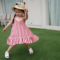 女宝宝连衣裙 夏装韩版新款女童竖条纹后背镂空娃娃裙
