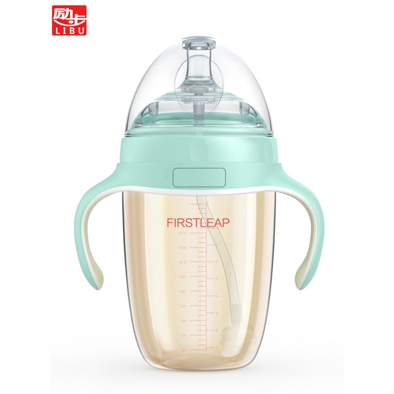 带硅胶吸管0-3-6-18个月 奶瓶耐摔婴儿宝宝宽口径