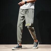 日系亚麻休闲裤男士加肥大码裤子2018夏天新款弹力修身束脚九分裤