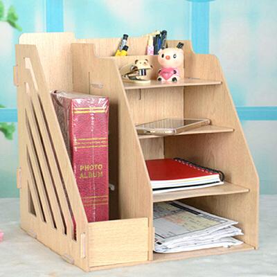 幽咸家居 桌上文件架收纳 置物架子 多用书架 小书架 置物架 家用桌上收纳书架 木质办公文件架 桌上文件架 文件夹