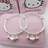 首饰990纯银儿童手镯 子款HelloKitty凯蒂猫宝宝银手镯满月套装礼物